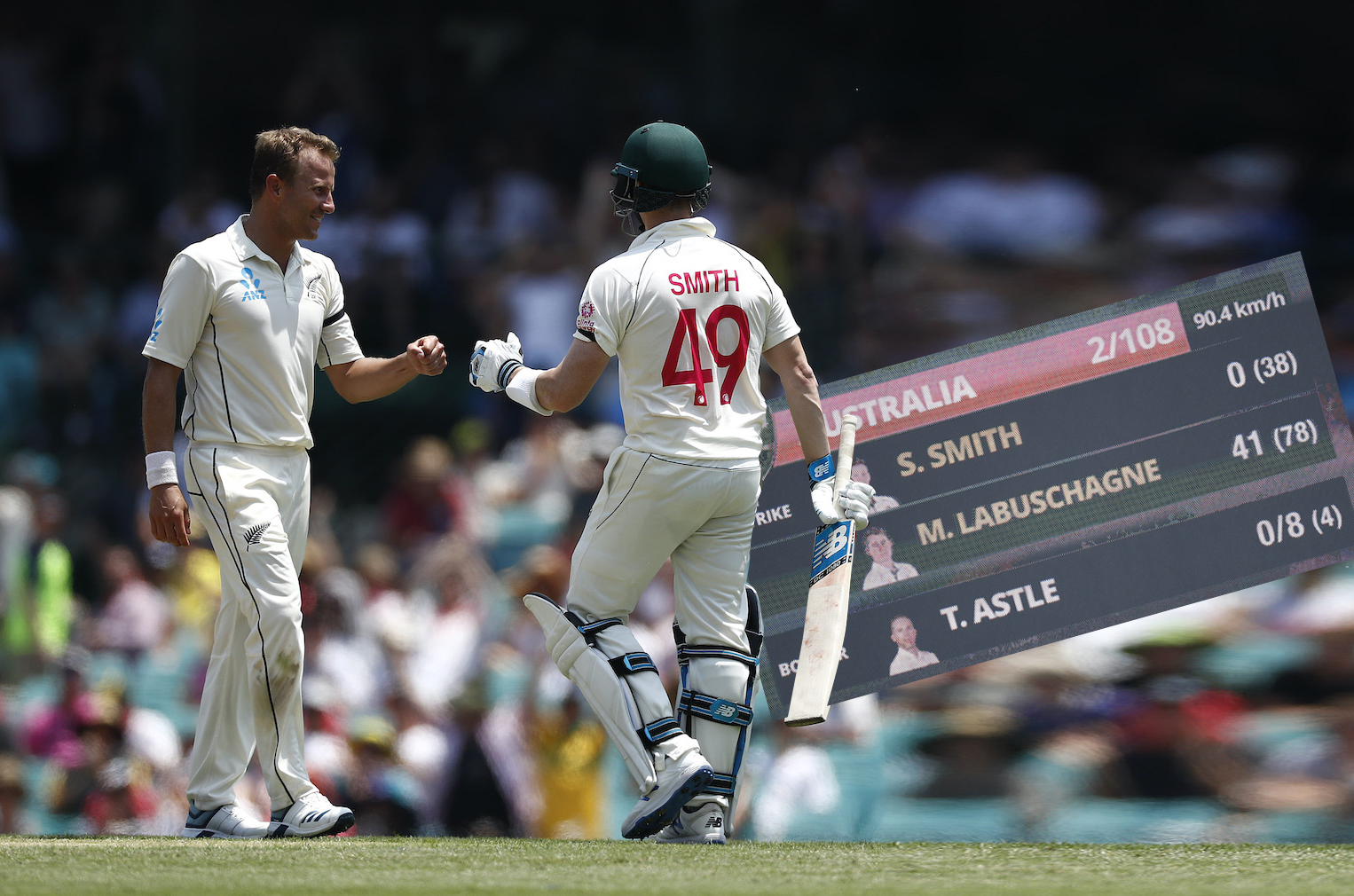 SYDNEY, AUSTRALIA - JANUARY 03: Steve Smith of Australia fist bumps Neil Wagner of New Zealand after scoring his first run after facing 39 balls during day one of the Third Test match in the series between Australia and New Zealand at Sydney Cricket Ground on January 03, 2020 in Sydney, Australia. (Photo by Ryan Pierse/Getty Images)