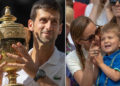 Jul 15, 2018;  London, United Kingdom; Novak Djokovic (SRB) poses with the trophy on day 13 at All England Lawn and Croquet Club. Mandatory Credit: Susan Mullane-USA TODAY Sports