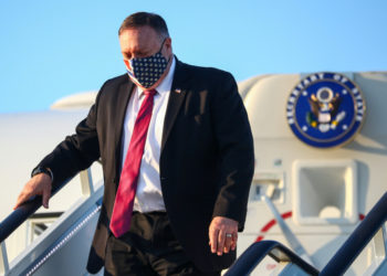 US Secretary of State Mike Pompeo steps from his plane upon arrival in London on July 20, 2020. (Photo by HANNAH MCKAY / POOL / AFP) (Photo by HANNAH MCKAY/POOL/AFP via Getty Images)