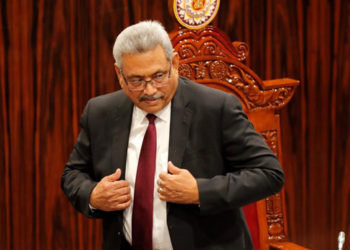 Sri Lankan President Gotabaya Rajapaksa leaves after addressing the parliament during the ceremonial inauguration of the session, in Colombo, Sri Lanka, Friday, Jan. 3, 2020. (AP Photo/Eranga Jayawardena)